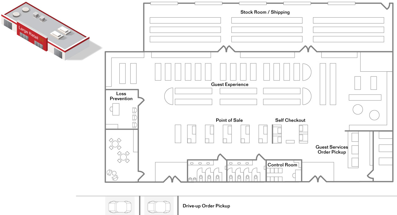 Large-footprint Retail floor plan